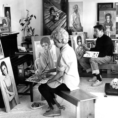 Margaret Keane and husband Walter add finishing touches to portraits of Natalie Wood - 1961