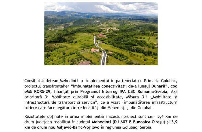 Finalizarea  lucrărilor de reabilitare a Drumului Județean 607B, între localitățile Bunoaica și Cireșu