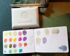 """Boite d'aquarelle """"La Petite Aquarelle"""" de Sennelier et quelques mélanges de couleurs"""