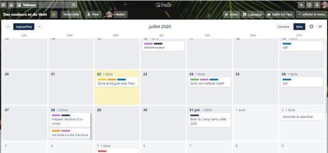 calendrier dans Trello avec les cartes planifiée selon leur date limite