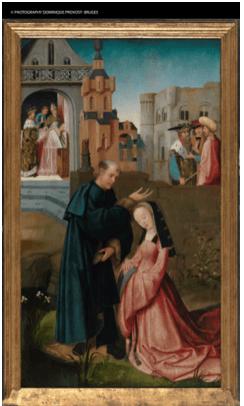 Santa Dimpna bautizada por Gerebern, por Goswyn van der Weyden, h. 1505, óleo sobre tabla, 123 x 75 cm (cada una).