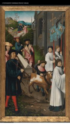 El cuerpo de Santa Dimpna es devuelto a Geel, por Goswyn van der Weyden.