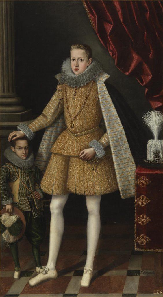 El príncipe Felipe y el enano Miguel Soplillo, de Rodrigo de Villandrando, h. 1620, oleo sobre lienzo, 240 x 110 cm, Madrid, Museo del Prado.