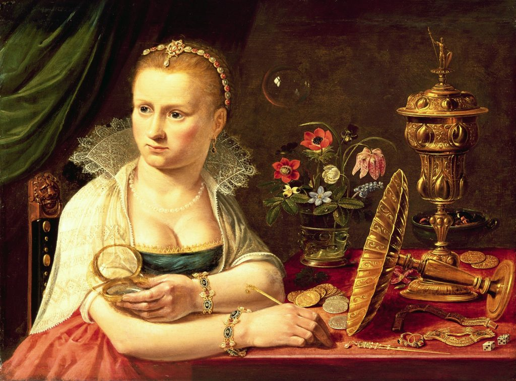 A vanitas portrait of a lady believed to be Clara Peeters by Peeters, Clara (1594-1659); 37.2x50.2 cm; Private Collection; Photo © Bonhams, London, UK; Netherlandish, out of copyright. Arriba, JVH403594 Still life with silver-gilt tazza (oil on panel) by Peeters, Clara (1594-1659); 34.1x46.8 cm; Private Collection; Johnny Van Haeften Ltd., London; Netherlandish, out of copyright.