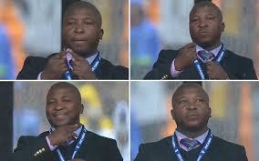 Composición fotográfico con el rostro de Thamsanqa Jantjie, raro interprete de funerales de Mandela