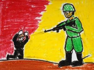 Dibujo de un niño de Gaza