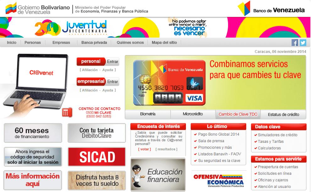 Plataforma del banco de venezuela presenta fallas desde ayer Banco venezuela clavenet