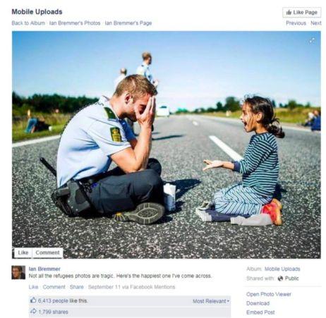 La imagen de un policía danés con una niña fue compartida miles de veces en Facebook, Twitter y Reddit