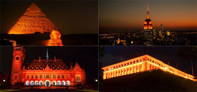 La Esfinge y las Pirámides de Giza, el Empire State Building y el Palacio de la Paz en La Haya, entre otros puntos de interés en todo el mundo, se iluminaron de naranja con ocasión del Día Internacional para la Eliminación de la Violencia contra la Mujer