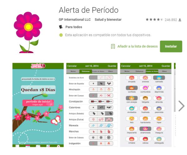 Alerta de periodo. Al pulsar un botón cada vez que inicias un periodo, la app te dirá aproximadamente cuándo llegará el siguiente periodo y hasta qué estado de humor y síntomas tendrás. ¿Te animas a descargarla?