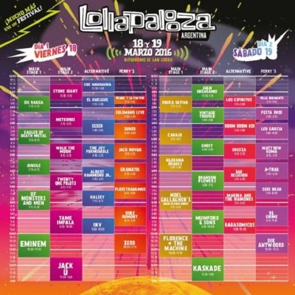 Cronograma Lollapalooza Argentina
