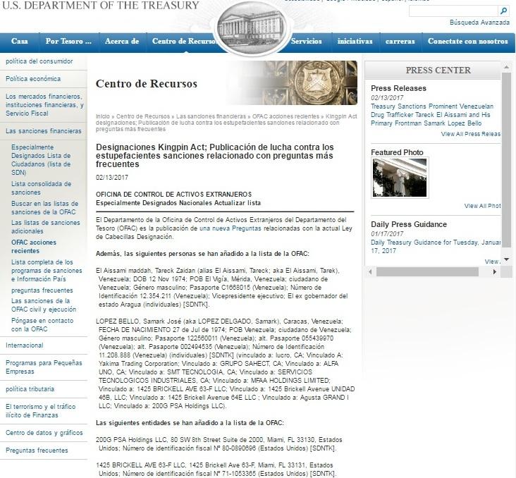 pagina del departamento del tesoro