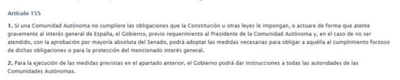 articulo 155 de la constitución de España