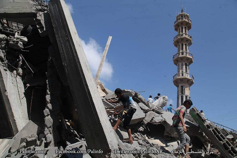 La mosquée Azzedine Al-Qassam détruite
