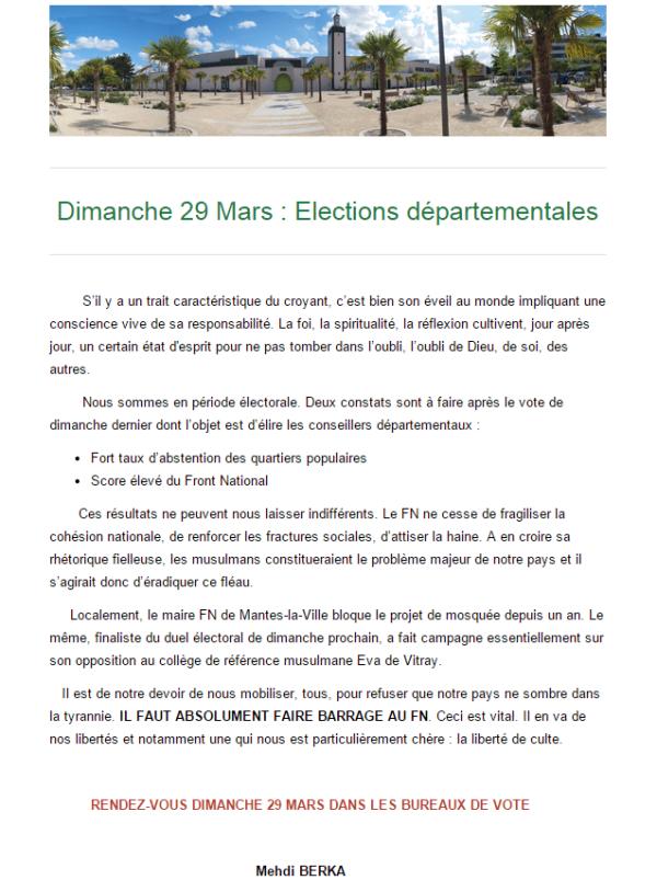 La mosquée de Mantes-la-Jolie appelle à faire barrage au FN