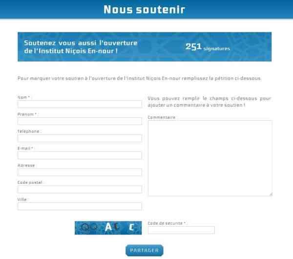 Pétition de soutien au Centre Ennour de Nice