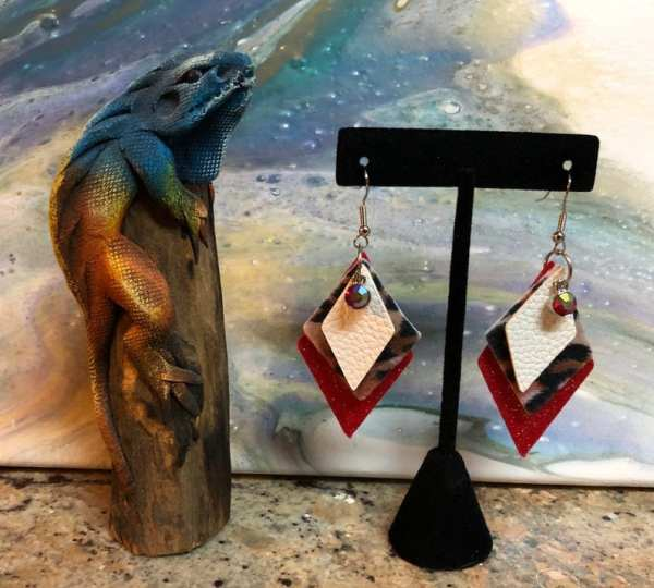 white leopard and red sparkle earring Desert Hippie Arts2