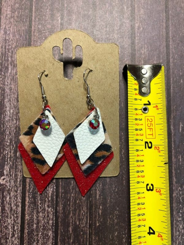 white leopard and red sparkle earring Desert Hippie Arts5