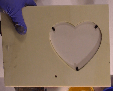 Wood Heart Frame metal prongs and photo template