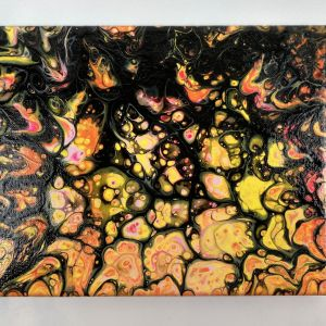 Goldenrod acrylic pour painting SWIPE