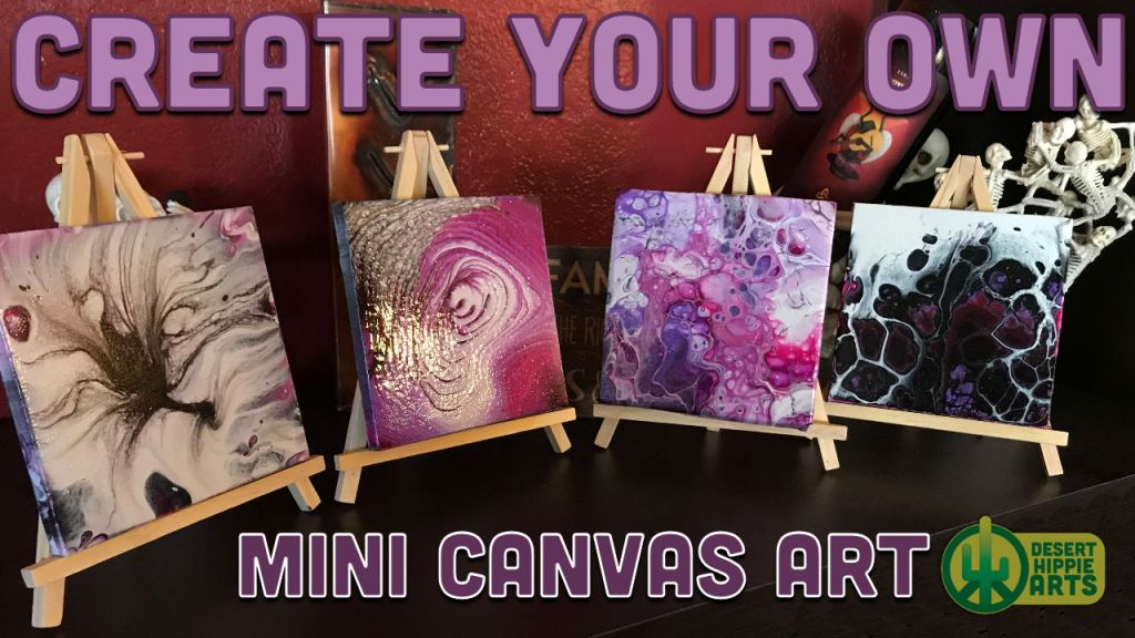MINI CANVAS ART WITH EASEL ACRYLIC PAINT POURING DESERT HIPPIE ARTS