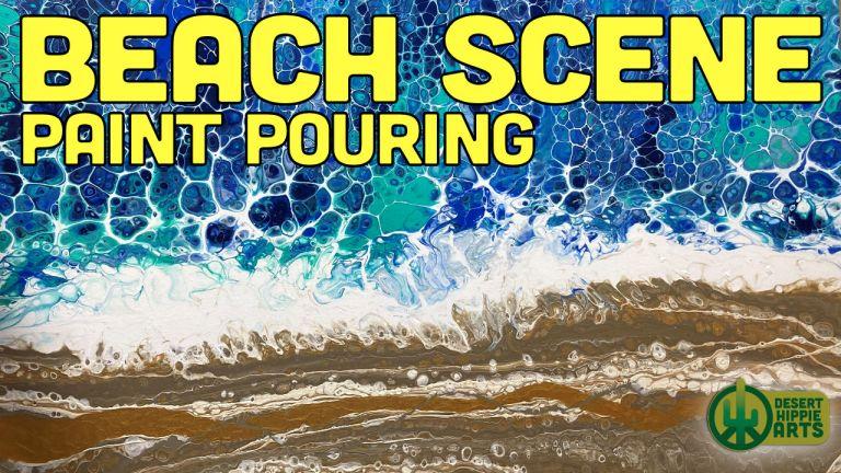 Beach Scene Paint Pouring Desert Hippie Arts