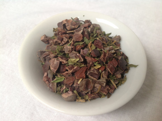 'Dark City Mint' is one of our chocolate tisanes. Coffee beans and Tea leaves were not combined in any heretical fashion.