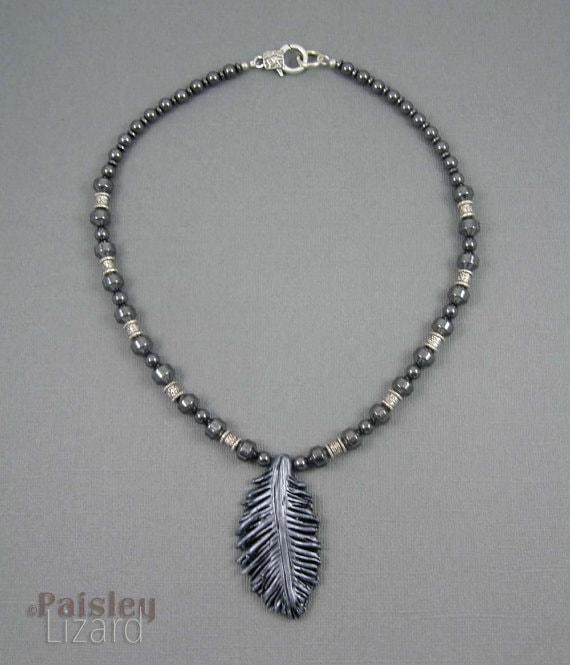 Paisley Lizard - Raven Feather Necklace