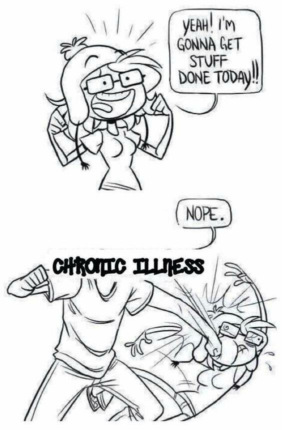 "Top panel is a woman with a Jayne hat and glasses looking energized and hopeful, saying ""Yeah! I'm gonna get stuff done today."" Second panel: Chronic Illness comes in with a knockout punch and says ""Nope."""