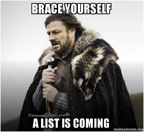 "Picture of Ned Stark from A Game of Thrones with the text ""Brace Yourself, A list is coming"""
