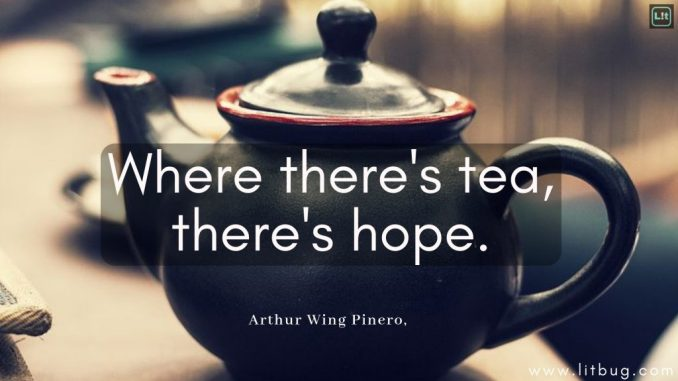 """Picture of a small blue teapot, the edge around the lid is red, as is the inside, which you can tell from the spout.  Over the teapot are the words """"Where there's tea, there's hope.  -Arthur Wing Pinero"""""""
