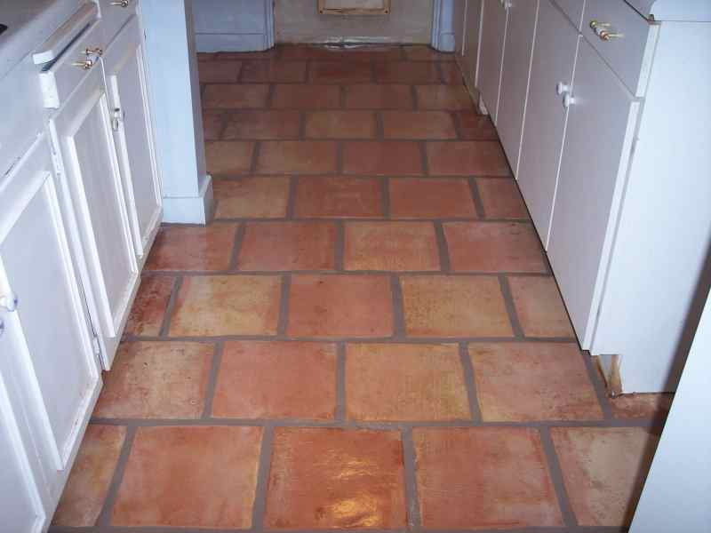Mexican Tile Cleaning   Desert Tile   Grout Care Restored Mexican Saltillo Tile kitchen floor in Scottsdale  Arizona  home