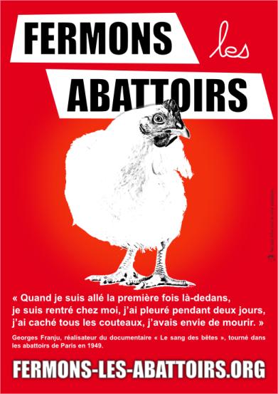 Tract distribué pendant les marches pour la fermeture des abattoirs