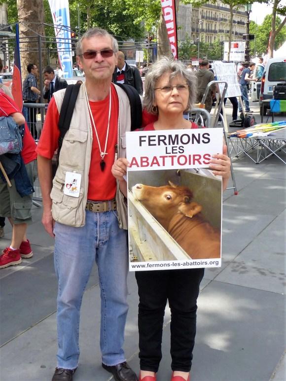 Christian et Danielle Millet Marche pour la Fermeture des Abattoirs - 14 juin 2014)
