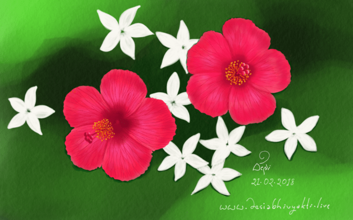 Let's Blossom - Floral Digital Painting with hibiscus and Jasmine flowers