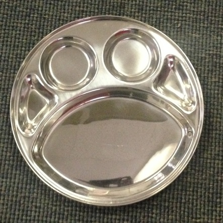 Stainless Steel Compartment Rimmed Dinner Thali Plate