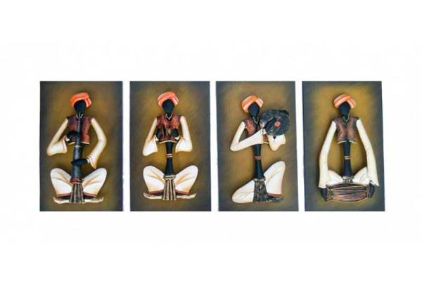 Rajasthani musician with wooden background set of 4 wall hanging