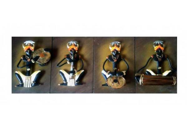Tribal musician set of 4 iron wall hanging