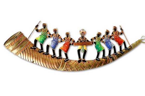 trumpet 7 adivasi people wall decor hanging