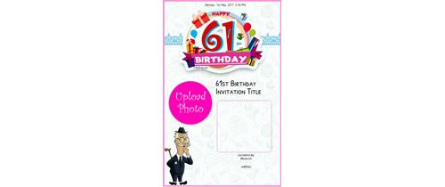 Invitation With Image Celebrate 61th Birthday Card