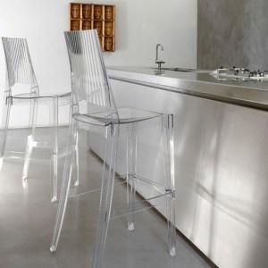 Art.SG01 - sgabello in policarbonato trasparente. Disponibile in diverse finiture. (SCAB)