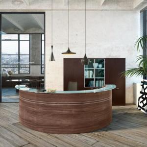 Art.REC09 - Reception curva, con piano in vetro, disponibile in altri colori e dimensioni (OFFICE&CO)