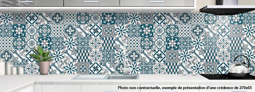 credence de cuisine decorative carreaux de ciment bleus
