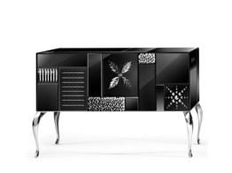 GOOD MOOD 7000 Black 3-Door Sideboard-Credenza-Buffet by Leonardo de Carlo ('Riflessivo' Series, 2010) from ARTE VENEZIANA (Copyright: © Leonardo de Carlo, ARTE VENEZIANA)