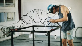MARC NEWSON working on a LOCKHEED LOUNGE Chaise Lounge-Lounger-Daybed (1986-1988) at the BASECRAFT Workshop (Sydney, Australia) - Copyright: © Marc Newson