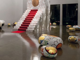 ALICE, BEATRICE, CECILIA, DAPHNE & ELENA Poufs-Stools-Ottomans-Coffee Tables-Side Tables by Marcel Wanders (2004-2012) from BISAZZA on permanent display at the BISAZZA FOUNDATION (photo by Alberto Ferrero - courtesy of BISAZZA & BISAZZA FOUNDATION - copyright: ©Marcel Wanders, BISAZZA, BISAZZA FOUNDATION, Alberto Ferrero)
