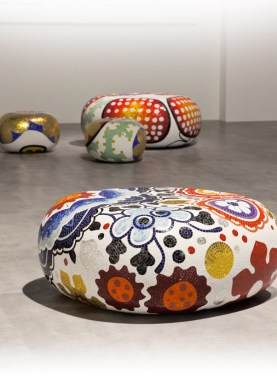 ALICE, BEATRICE, CECILIA, DAPHNE & ELENA Poufs-Stools-Ottomans-Coffee Tables-Side Tables by Marcel Wanders (2004-2012) from BISAZZA on permanent display at the BISAZZA FOUNDATION (courtesy of Marcel Wanders - copyright: ©Marcel Wanders, BISAZZA, BISAZZA FOUNDATION)