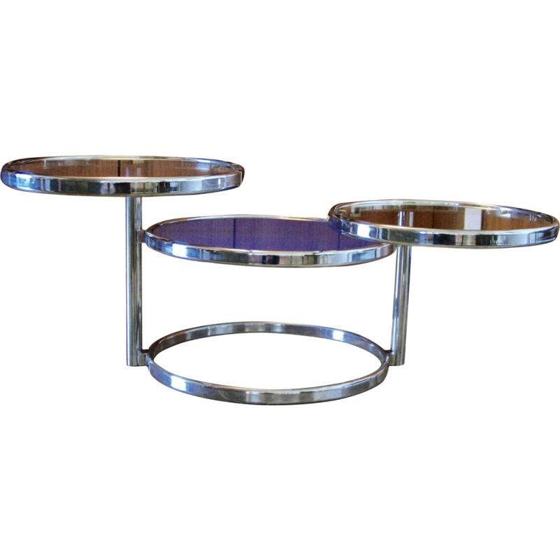 vintage coffee table in chrome and glass 1970