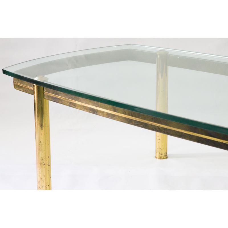 large glass top coffee table mid century on brass legs leatherette 1970s