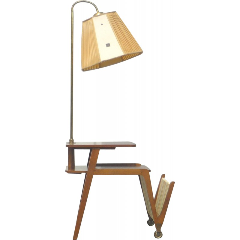 side table on castors with a lamp and magazine holder 1960s